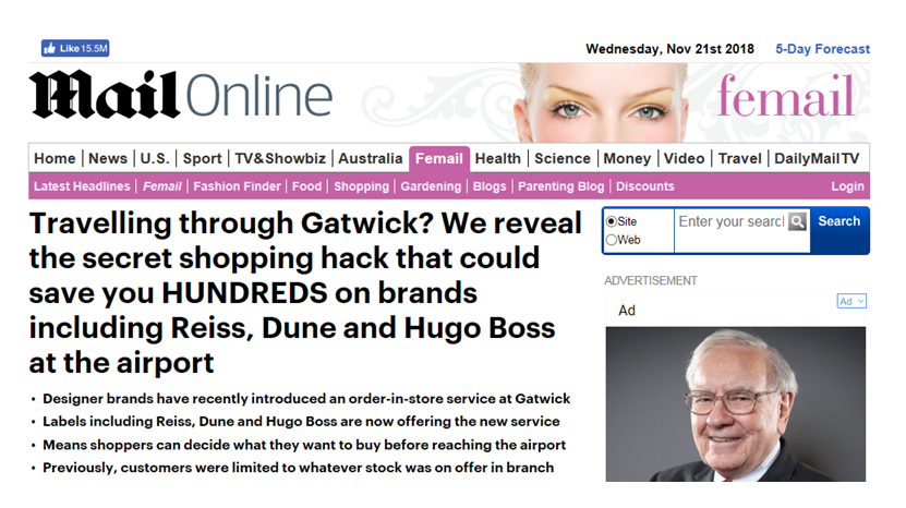 Gatwick Tax Free Daily Mail Article